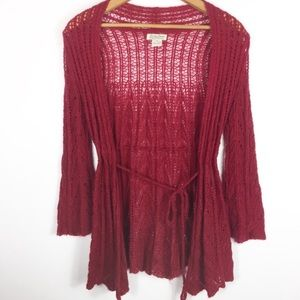 Lucky Brand Burgundy Open Front Sweater Cardigan